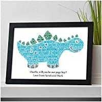 Personalised DINOSAUR Will you be my Page Boy, Ring Bearer, Ring Security, Usher, Wedding Gifts for Page Boy- Will You Be Presents for Wedding Party - A5, A4 Prints and Frames - 18mm Wooden Blocks