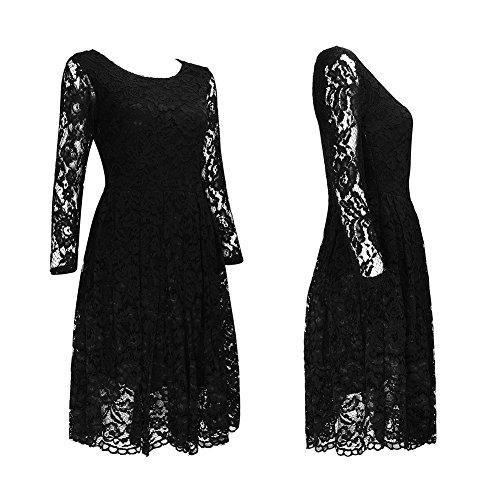 Clasichic Damen Spitzenkleid Cocktailkleid Partykleid Abendkleid mit 3/4 Arm Festliche Rockabilly Swing Kleider Knielang schwarz