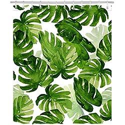 LB grüne Blätter Monstera Tropische Pflanzen Duschvorhang für Bad Duschvorhang mit 12 Haken wasserdicht Polyestergewebe Anti-Schimmel 150x180CM
