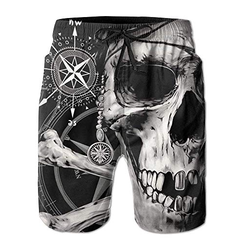 KAKICSA Pirate Skull and Compass Men Summer Casual Swim Trunks Shorts Quick Dry Swim Trunks with Pockets,Size:L Cozy Pocket
