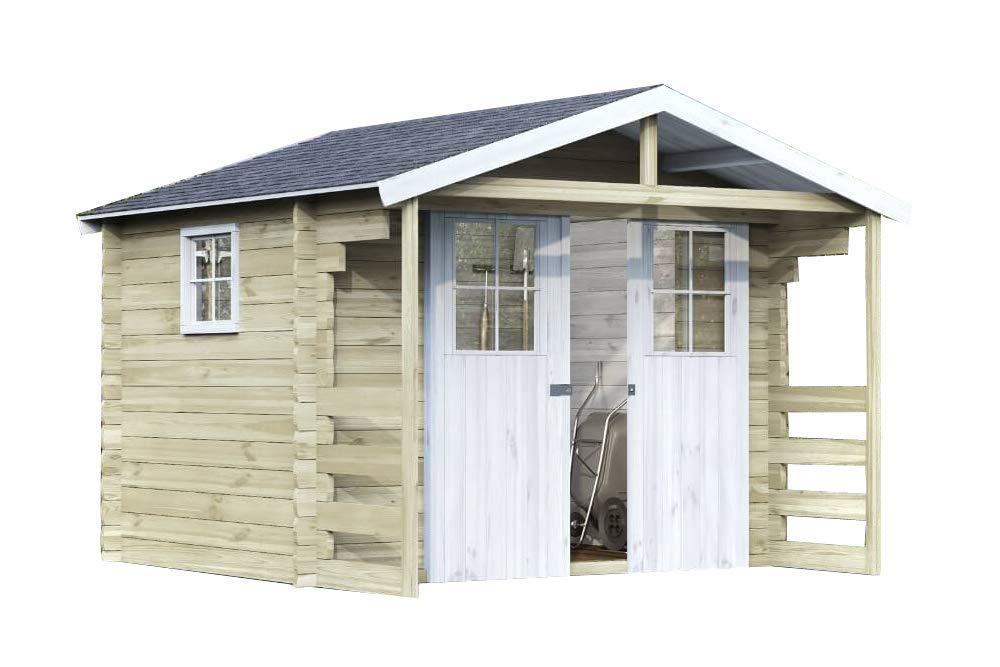 Alpholz Gartenhaus Lier 28 aus Massiv-Holz   Gerätehaus mit 28 mm Wandstärke   Garten Holzhaus inklusive Montagematerial & Dachpappe   Geräteschuppen Größe: 300 x 240 cm   Satteldach