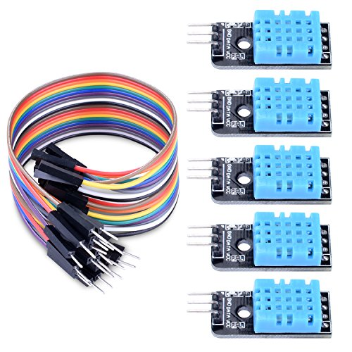 Longruner 5 PCS Temperature Humidity Sensor Module DHT11 with 20PIN Male to Female DuPont Jump Wires Cable with ArduinoIDE UNOR3 MEGA 2560 with Raspberry pi 3 2 1 model B 2B A+ RPI Zero LK03