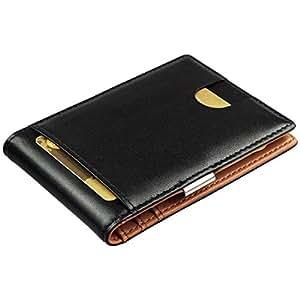 Geldbörse mit Geldklammer aus Echt-Leder - Geldbeutel mit RFID Schutz, Börse, Brieftasche mit Geldscheinklammer, Kredit-Karten-Etui mit Geldclip, Portemonee Herren, Mini Ausweisetui, Smart Wallet