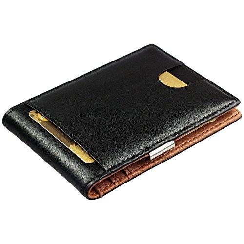 Portafoglio uomo vera pelle RFID - piccolo portafoglio intelligente uomo slim per lui porta bancomat, banconote, porta carte di credito, portafogli uomo sottile, regalo per uomini