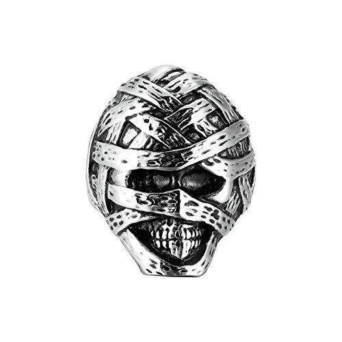 Adisaer Ring Herren Edelstahl Mumie SchädelSilber Schwarz Ringe Größe 54 (17.2) Für Männer Ring (Männer Mumie Kostüme)