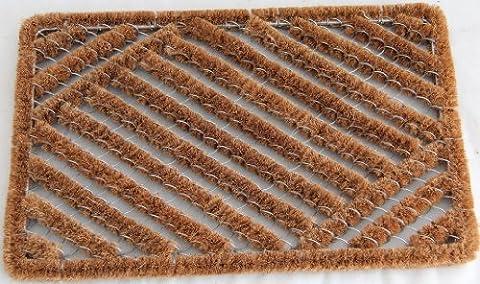 Homescapes Schmutzfangmatte Fußmatte mit Drahtgitter 40 x 60 cm (Breite x Länge) Türmatte aus Kokosfaser strapazierfähiger Fußabtreter
