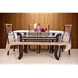 6c1545177 Kuber Industries™.20mm Dining Table Cover Transparent 6 Seater 60x90 Inches  (Golden Lace