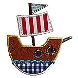 Piratenschiff 10X9cm Aufbügler Flicken Stoff Patch Kleider Aufnäher Bügelbild zum Bügeln auf Tasche Hut Schal Jeans Jacke Kissen Türschild Decke Hosen Fahne Hemd Kleider Kappe Rock Turnsack Halstuch