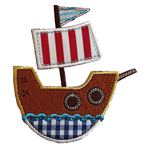 2-ecussons-patch-appliques-bateau-pirate-10x9cm-chat-4x10cm-thermocollant-brode-broderie-pour-veteme