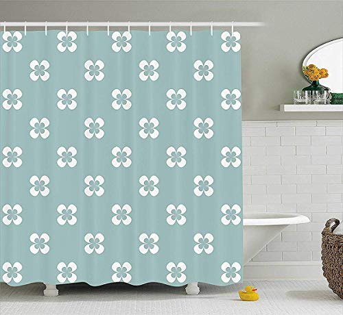 White Almond Bath (prz0vprz0v Floral Shower Curtain, Pattern with Graphic White Pansy Flowers on Green Backdrop, Fabric Bathroom Decor Set with Hooks, 72W x 79L Inch Bath Curtain, Almond Green White)