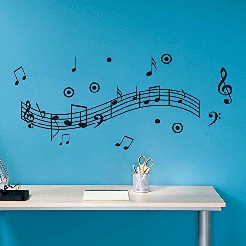 asenart Musik Note Papier Graffiti Wand Aufkleber für Kinder Kinderzimmer Wandtattoo Aufkleber 61x - Musik Wandtattoo Noten
