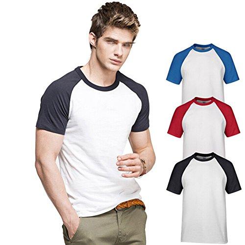 Butterme Unisex Damen Männer Casual Kurzarm Lycra Baumwolle Baseball T-Shirt Raglan Jersey Shirt (Schwarz-Damen,L) Orange-Damen