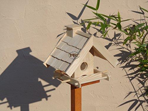 Vogelhaus + XXL- FUTTERSILO,K-VOWA3-natur002 Großes Vogelhäuschen + 5 SITZSTANGEN, KOMPLETT mit Futtersilo + SICHTGLAS für Vorrat PREMIUM-Qualität,Vogelhaus,- ideal zur WANDBESTIGUNG – Futterhaus, Futterhäuschen WETTERFEST, QUALITÄTS-SCHREINERARBEIT-aus 100% Vollholz, Holz Futterhaus für Vögel, MIT FUTTERSCHACHT Futtervorrat, Vogelfutter-Station Farbe natur, Ausführung Naturholz MIT TIEFEM WETTERSCHUTZ-DACH für trockenes Futter - 4