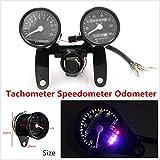 FidgetKute 12V Universal Tachometer+Speedometer Dual Odometer Gauges For Motorcycle Bobber