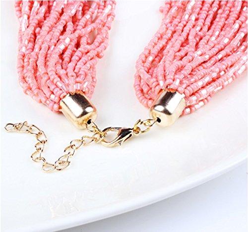 ZPXLGW Mode Bohême Sauvage Vent Bead Collier Boucles D'oreilles Suit pink