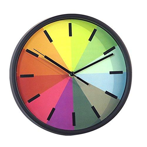 Foxtop Wanduhr ohne Ticken, 10 Zoll Modernen Bunten Lautlose Nicht-tickende Wanduhr Uhr für Kinder...