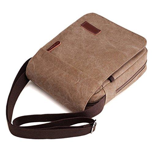Herren Business Bag Canvas Freizeit Umhängetasche,Black Brown