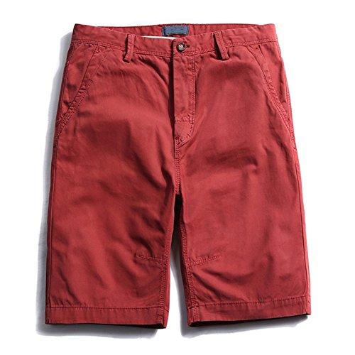 Feicuan Uomo Cotton Casual Slim Fit Cargo Pantaloncini -G42 Red