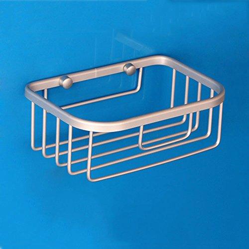 Shelfhx Einfaches Rechteck-rostfreie Aluminiumlegierungs-Toiletten-Papier-Korb-Papierhandtuch-Halter-Badezimmer-an der Wand befestigte Lagerregal-Duschregale (Color : Silver)