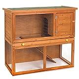 Happypet HASENSTALL HOLZ Kaninchen-Stall Hasen-Käfig Kleintiergehege Freilauf Auslauf Verschlag Nagerkäfig Hamsterstall ca. 90 x 45 x 80 cm inklusive Rampe