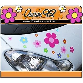 Aurum92Car Sticker–Floral, Set of 30, Multi-Colour