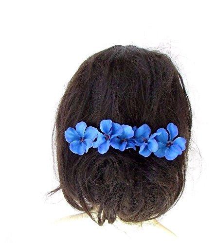 5-x-azul-Hibiscus-flor-pelo-pasadores-clips-playa-novia-hawaiano-Tropical-2430-Exclusivamente-Se-Vende-por-STARCROSSED-Boutique