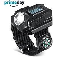 Romer potente Bright muñeca LED de luz USB recargable impermeable LED linterna Wristlight reloj con brújula, mejor para Correr Ciclismo Escalada Camping Senderismo patrulla caza