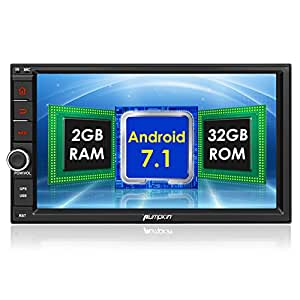 Pumpkin Android 7.1 2GB 32GB Double Din Car Stereo Bluetooth Car Radio Sat Nav 1024*600 Touch Screen 2 Din Head Unit Support Fastboot DAB+ Mirrorlink Subwoofer AV OUT WIFI AUX USB SWC Rear Camera OBD2