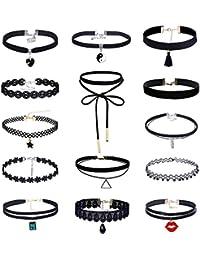 MingJun collier de collants 14 pièces Collier en velours noir Velouté  gothique tatouage collier pendentif pour 6991d742632d
