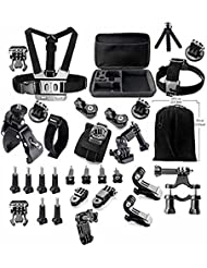 Gearmax® Esencial kit de Accesorios de Paquete para GoPro Hero 4 3 + 3 2 1 Black Silver Accesorio para GoPro 4 3 + 3 2 1 Negro Plata SJ4000 SJ5000 SJ6000, Accesorio de Cámara para GoPro Hero 4 Hero 3 + Hero 3 Hero 2