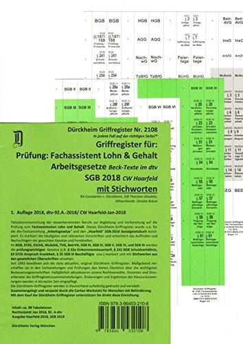 Fachassistent Lohn und Gehalt (ArbR-SGB)/ Dürckheim-Griffregister Nr. 2108 (2018): 98 bedruckte Griffregister zur Befestigung CW Haarfeld SGB-2018