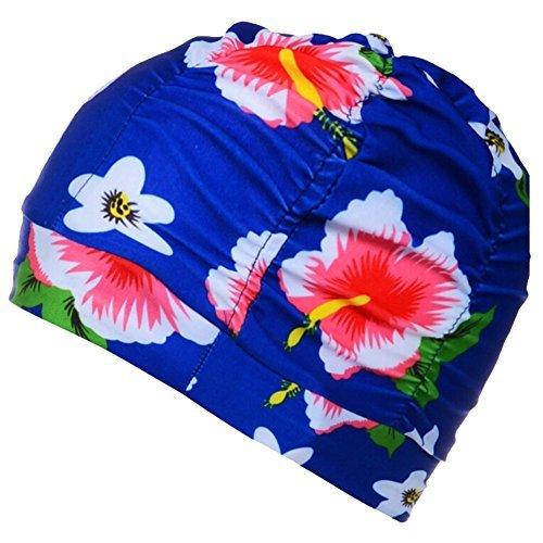 Butterme Badekappe Bademütze Schwimmkappe Duschkappe Große Atmungsaktiv Nylon Falten Badekappen Hut für Langes Haar Frauen Männer Stil 10