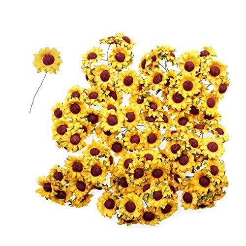 Jzk 100 piccoli girasoli finti con stelo ferro per decorazioni bomboniere matrimonio compleanno natale fiorellini artificiali per lavoretti bricolage di biglietti auguri