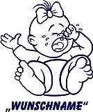 INDIGOS UG - Babystrampler / Strampler 054 mit Wunschname / Wunschtext schwarz 86/92