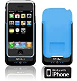 MiLi Power Pack Case and Rechargeable Battery for iPhone 2G/3G/3GS - Black with Blue Inner-Lining