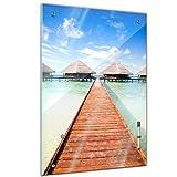Memoboard - 40 x 60 cm, Landschaft - Steg Malediven - Glasboard Glastafel Magnettafel Memotafel Pinnwand Schreibtafel - Landschaftsszene - Natur - Meer - Indischer Ozean - Insel - Urlaubsinsel - Paradies - Wasserbungalow -Blick auf Meer - Bild auf Glas - Glasbild - Wohnzimmer - Esszimmer - Schlafzimmer - Küche - Design - Art - Handmade