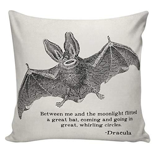 een Bat Dracula Zitat Kissen Kissenbezug Baumwolle Leinwand Wurfkissen 18-Zoll-Quadrat UE189 Urban Elliott ()