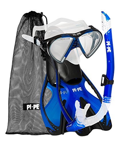 PI-PE Erwachsene Active Schnorchelset, Blue, S-M -