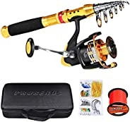 SKY-TOUCH Fishing Rod kit, Carbon Fiber Telescopic Fishing Pole and Reel Combo with Line Lures Tackle Hooks Re