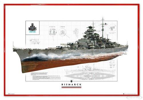 Close Up World of Warships Poster Schlachtschiff Bismarck (63,5x94 cm) gerahmt in: Rahmen rot