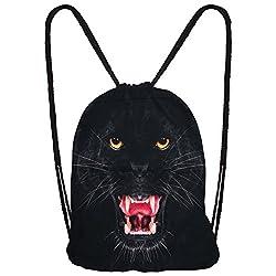 Hanessa Jutebeutel mit Black Panther Tier Aufdruck Sportbeutel Tüte Rucksack Beutel Tasche Gym Bag Gymsack Hipster Fashion Sport-Tasche Einkaufs-Tasche Schwarz