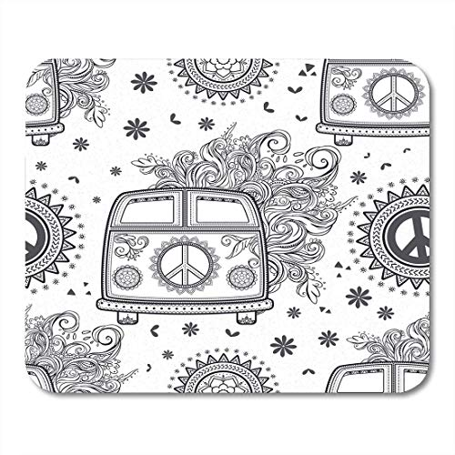 Deglogse Gaming-Mauspad-Matte, Hippie Vintage Car Minivan Ornamental Love and Music Woodstock with Hand Fonts Doodle and Hippy Color Mouse Pad