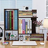 HFYAK Desktop Bookshelf Organizer - Freestanding Wooden Countertop Bookcase Display Rack Storage Shelf - for Office, Kitchen, Books, Flowers and Plants
