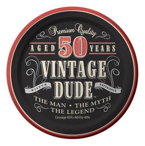 Creative Converting Dessertteller zum 30. Geburtstag, quadratisch, 8 Stück Dessert Vintage Dude 50th Birthday