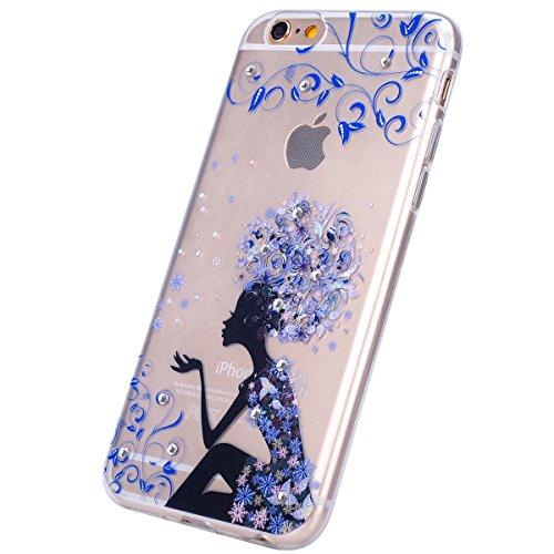 EUWLY Custodia per iPhone 7 Plus/iPhone 8 Plus (5.5), EUWLY Ragazza Romantica Bello con Bling Glitter Cristallo Diamante Design TPU Gel Silicone Custodia Antigraffio Cover Antiurto Protettivo Shell C Ragazza Fiore blu