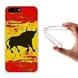iPhone 7 Plus Hülle, WoowCase Handyhülle Silikon für [ iPhone 7 Plus ] Spanien Flagge und Stier Handytasche Handy Cover Case Schutzhülle Flexible TPU - Transparent