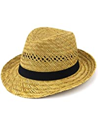 f3408611441 Straw trilby hat with black band sun summer brim (57cm)