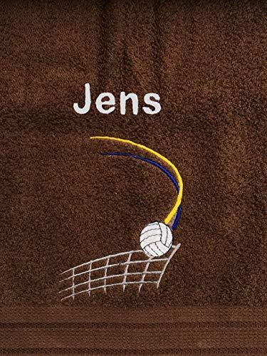 Volleyball Handtuch bestickt mit Motiv und Name -