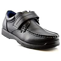 Us Brass Boys Hard Wearing Back To School Touch Fastening Black Formal Shoes Size 2-6