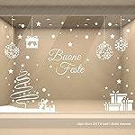 Vetrofanie Natalizie Vetrina Natale Decorazione Vetrine Negozi Adesivi Stelle Fiocchi di Neve Pacchi Regalo Scritte Buone Feste   © Gigio Store